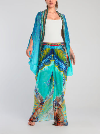Side Split Overlay Silk Maxi Skirt