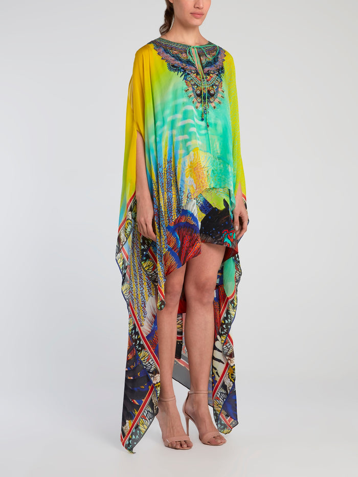 Asymmetric Overlay Silk Dress