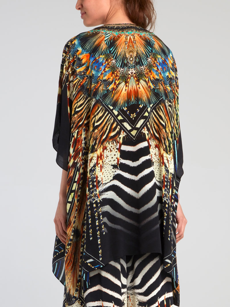 Lace Up Silk Short Kaftan