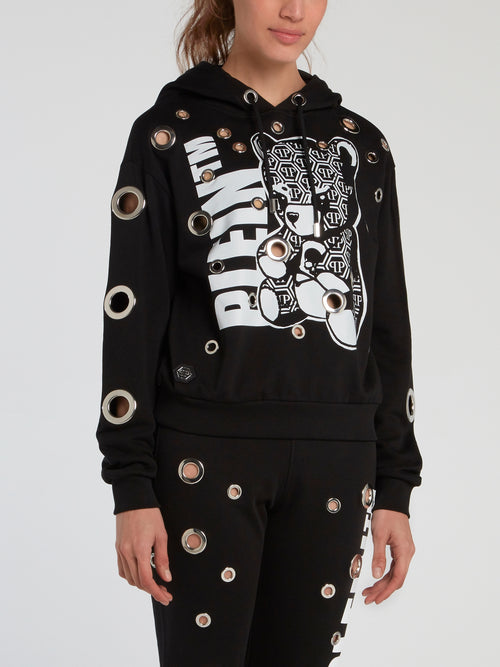 Teddy Bear Ring Embellished Hoodie