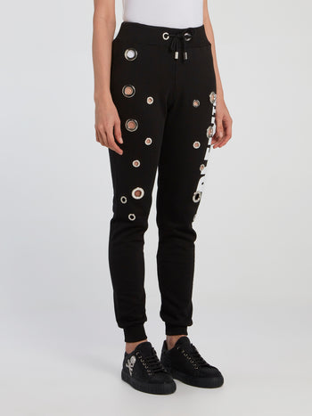 Black Ring Embellished Running Trousers