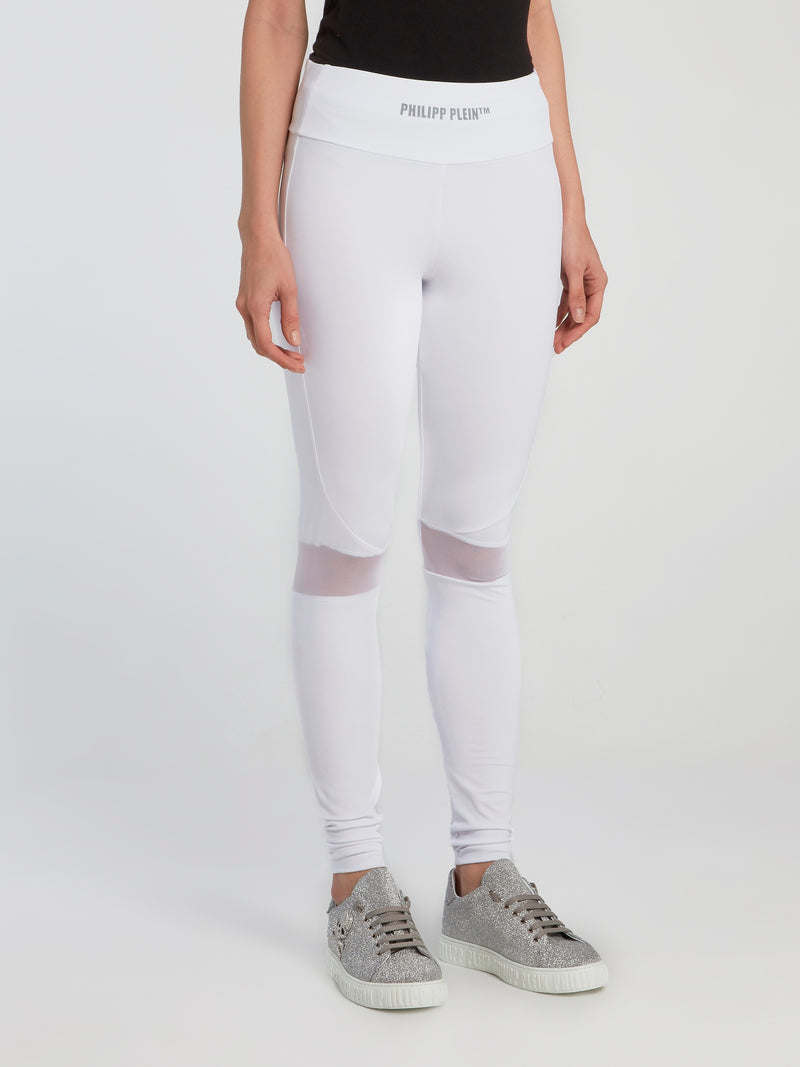 White Mesh Panel Track Tights