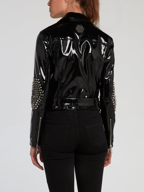Black Spike Studded Patent Leather Jacket