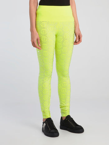 Neon Rhinestone Logo All Over Leggings