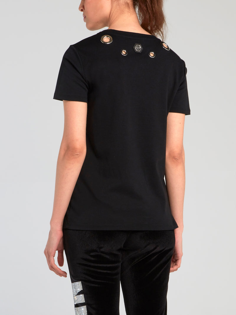Teddy Bear Black Ring Embellished T-Shirt