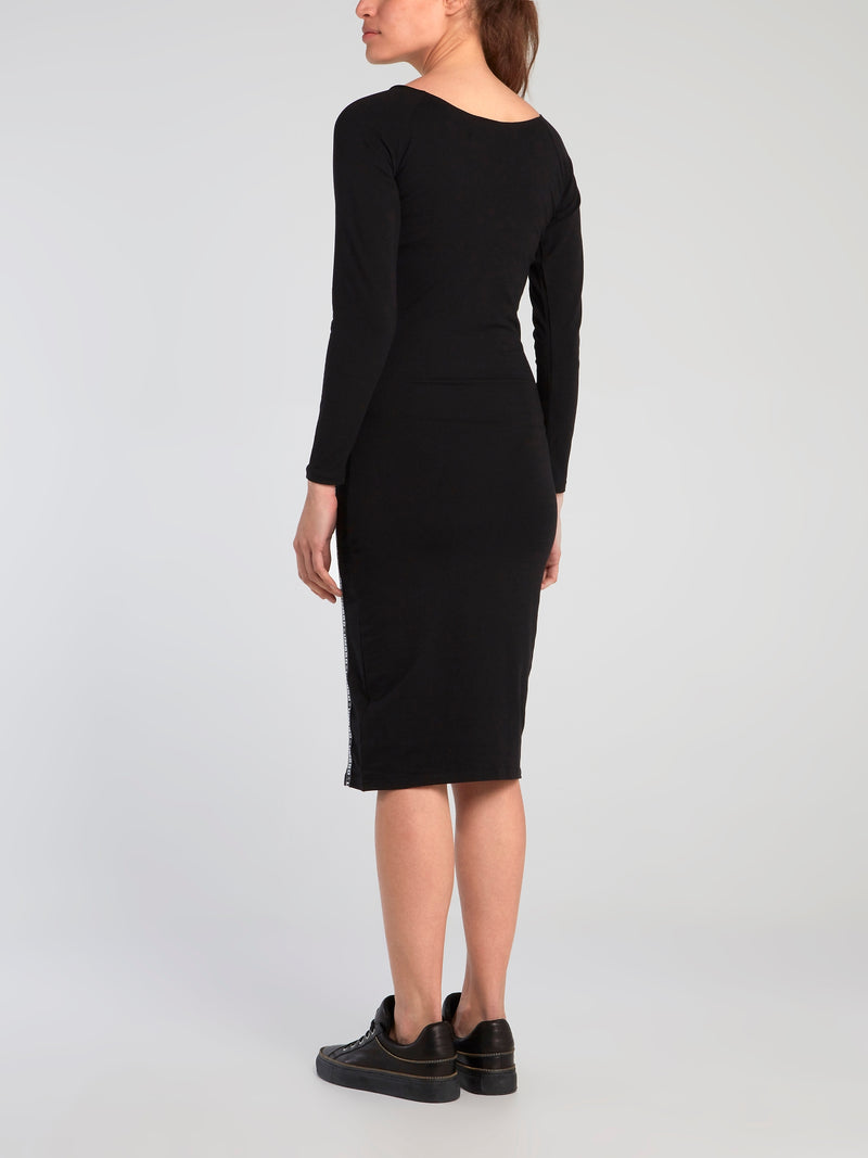 Cara Black Long Sleeve Bodycon Dress
