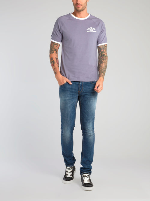 Pretty Green x Umbro Purple Contrast Trim T-Shirt