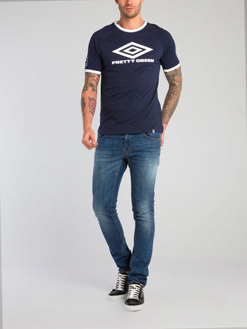 Pretty Green x Umbro Navy Contrast Trim T-Shirt