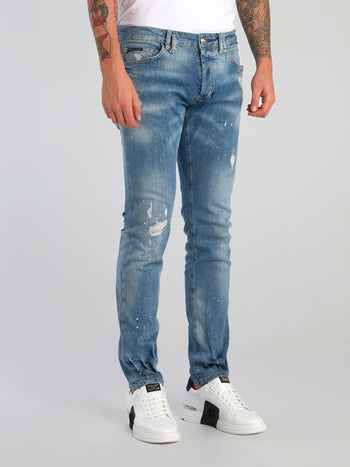 Acid Wash Distressed Denim Jeans