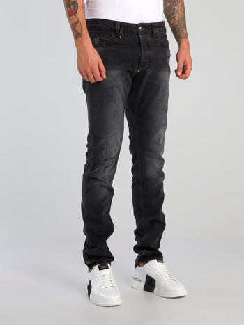 Black Wash Distressed Denim Jeans