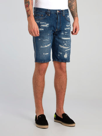 Blue Distressed Denim Bermudas