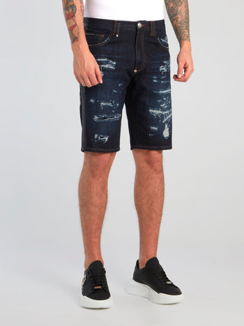 Navy Distressed Denim Bermudas