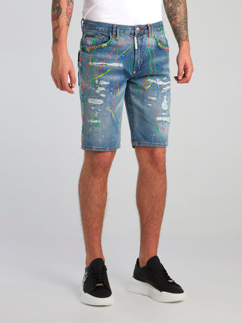 Blue Paint Splatter Distressed Bermudas