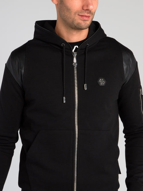 Black Quilt Panel Hooded Sweatshirt