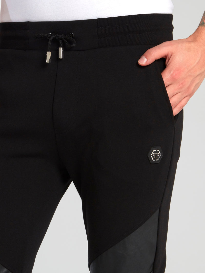 Black Leather Panel Running Trousers