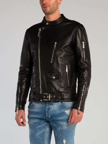 Black Sheepskin Biker Jacket