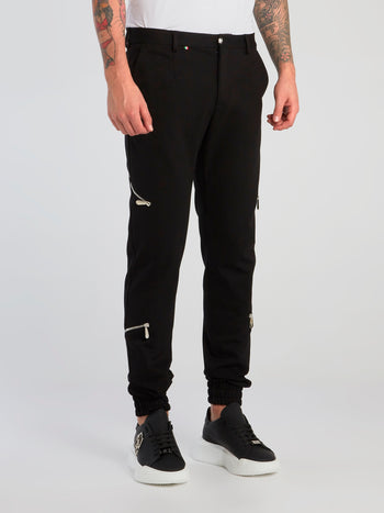 Black Zip Detail Trousers