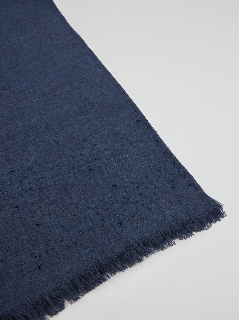 Navy Frayed Strass Stole