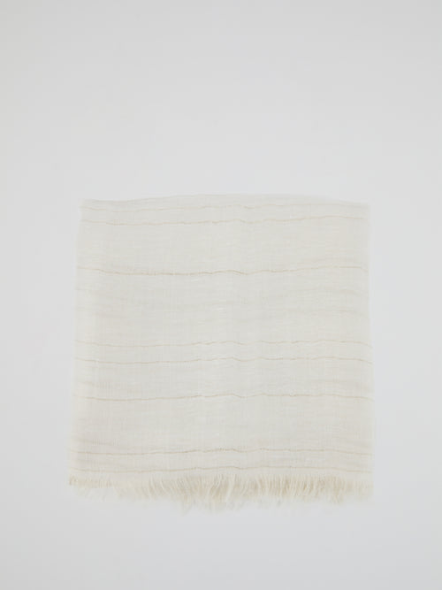 White Frayed Lurex Stole