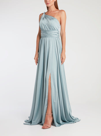 Grey One-Shoulder Silk Evening Gown