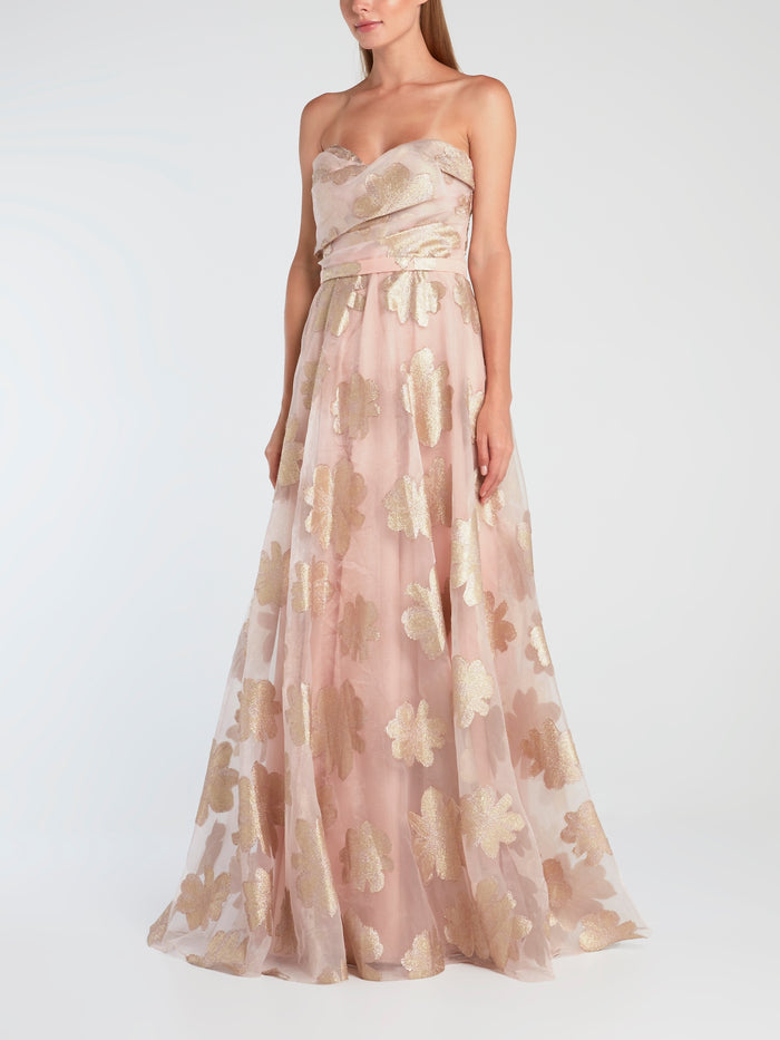 Pink Strapless Overlay Evening Gown
