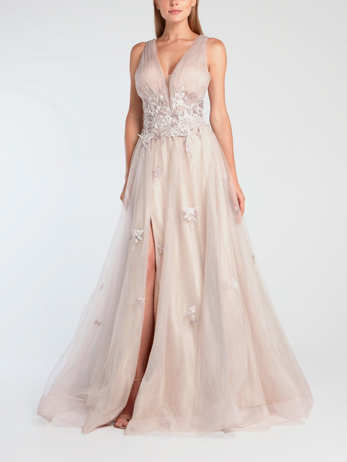 Pink Embroidered Tulle Evening Gown