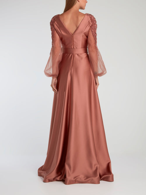 Pink Embroidered Sleeve Satin Evening Gown