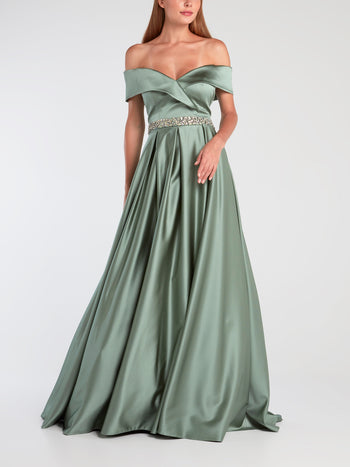 Mint Drop Shoulder Satin Evening Gown