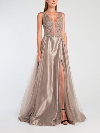 Studded Bodice Silk Evening Gown