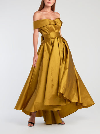 Gold High-Low Merlot Silk Evening Gown