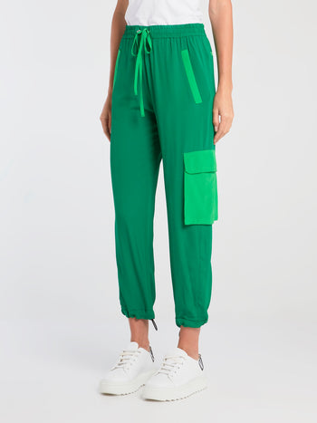 Green Drawstring Cargo Pants