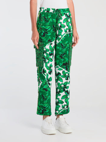 Green Drawstring Floral Cargo Pants