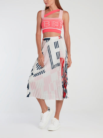 White Accordion Midi Skirt
