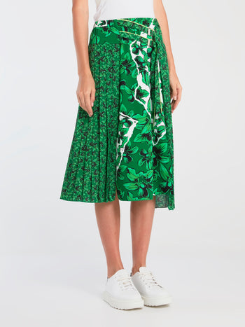 Green Floral Pleated Midi Skirt