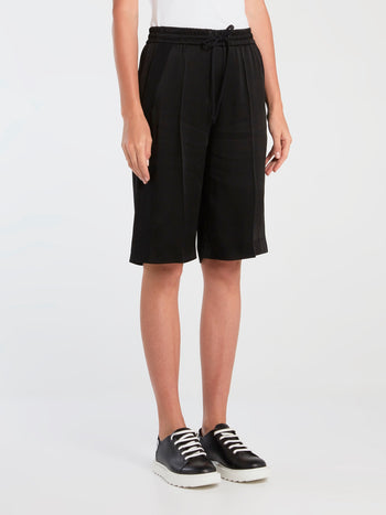 Black Pleated Drawstring Shorts