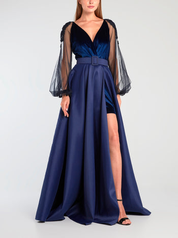 Navy Surplice Velvet Evening Gown