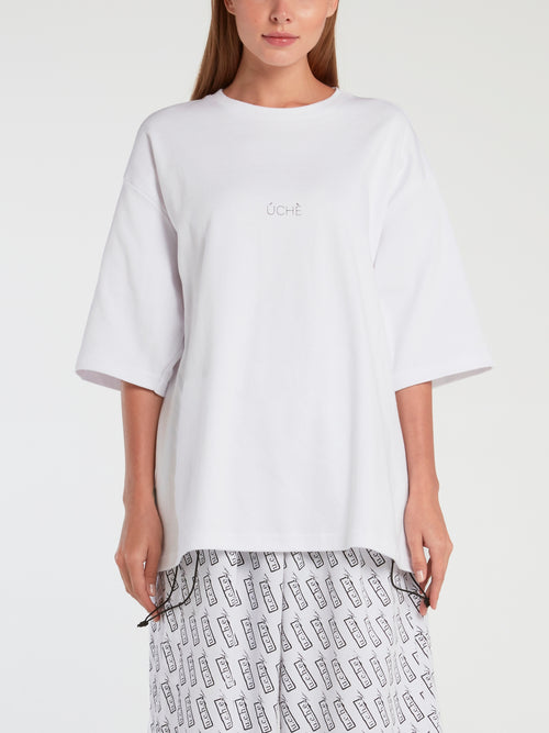 White Half Sleeve Oversized T-Shirt
