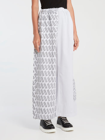 Monogram Print Panel Oversized Pants
