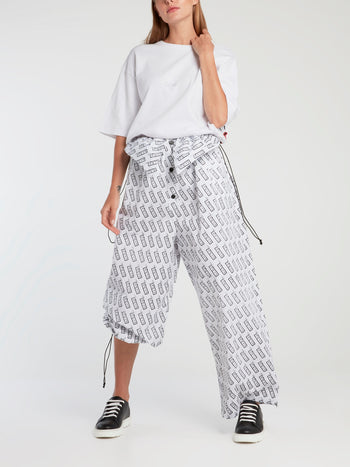 Monogram Print Drawstring Oversized Pants