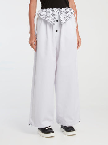 White Drawstring Oversized Pants
