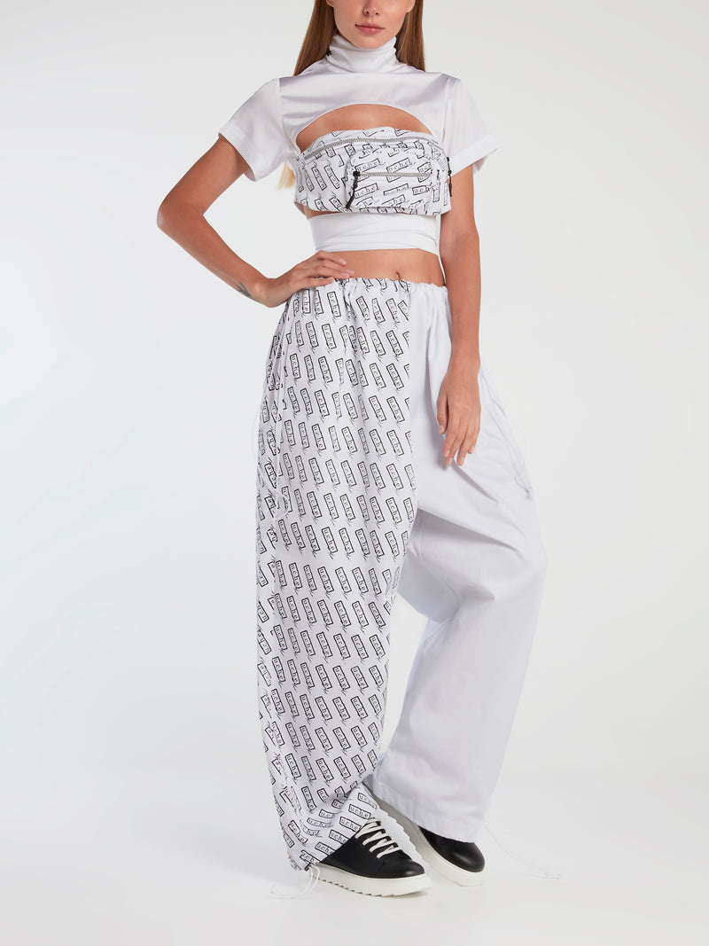 Monogram Print Panel Drawstring Pants