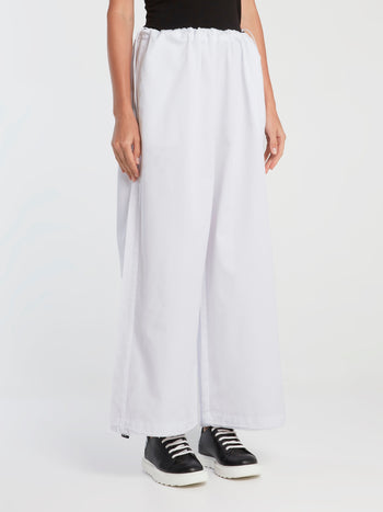 White Drawstring Oversized Twill Pants