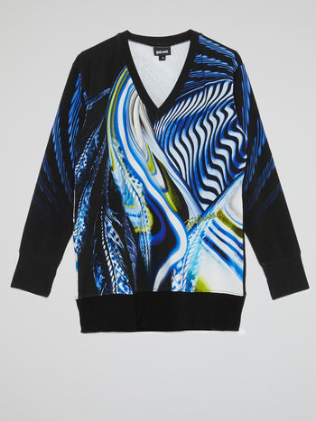Blue Printed V-Neck Pullover