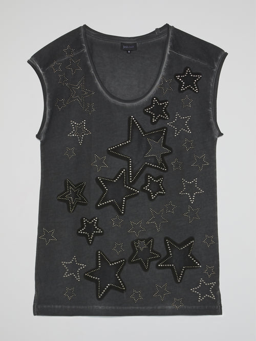 Grey Studded Star Sleeveless Top