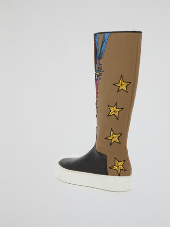 Embroidery Canvas Platform Boots