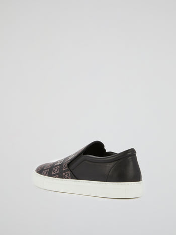 Black Embroidered Leather Sneakers