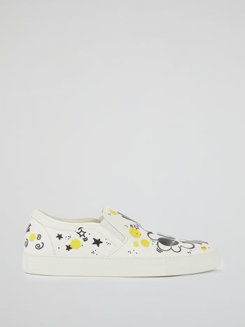 White Doodle Print Slip On Sneakers