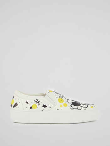 White Doodle Print Platform Sneakers