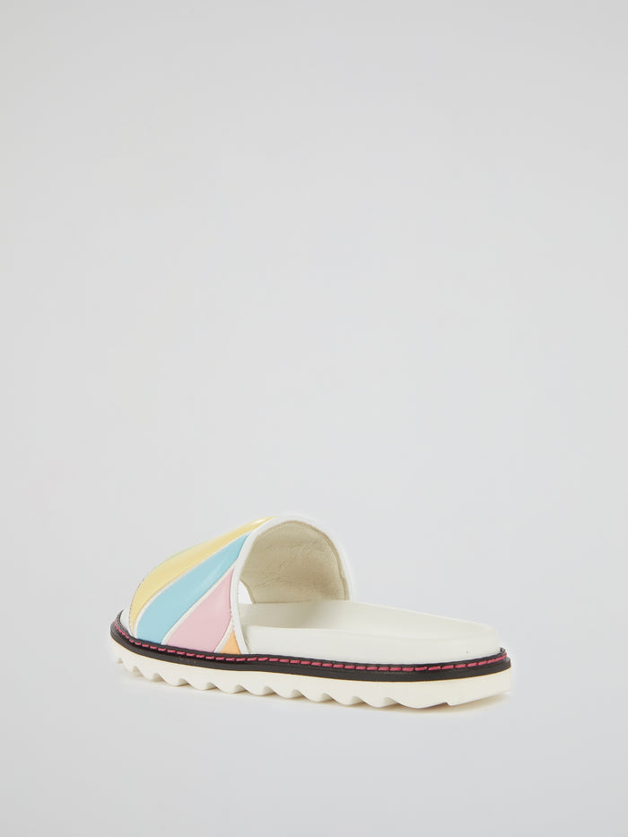 Pastel Stripe Serrated Sole Slippers
