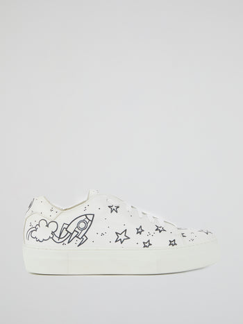 White Space Print Platform Trainers